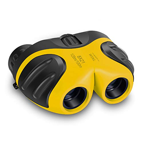 mom&myaboys Folding Compact Shock Proof 8x21 Children Binoculars Kids Learning Toys for 3-12 Years Old - Best Boys and Girls Gifts to Watch Birds and Sightings-Outdoor Games With Family (Yellow)