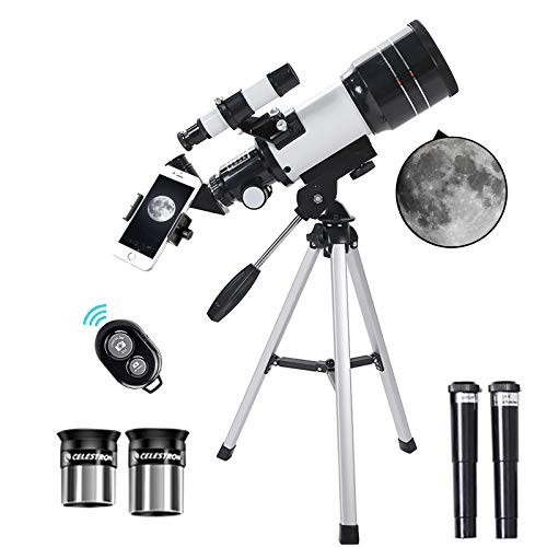 Telescopes for Astronomy Adult Beginners,Creative Blutooth Remote 70mm Aperture 300mm Focal Length Portable Telescope with Adjustable Tripod Refractor Travel Monocular for Children Teens Student