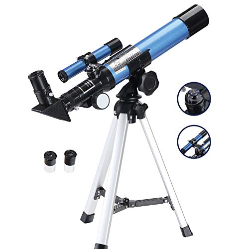 Aomekie Telescope for Kids Beginners and Astronomy 40/400 Portable Astronomical Telescopes Refractor with Finder Scope Compass and Tripod