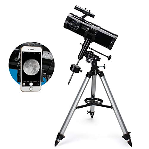 Moutec 114EQ Newtonian Reflector Telescope for Astronomy Beginners Adults, German EQ2 Mount with Adjustable Tripod Ideal for Manual Tracking, Great Astronomy Gift for Adults Friends Family