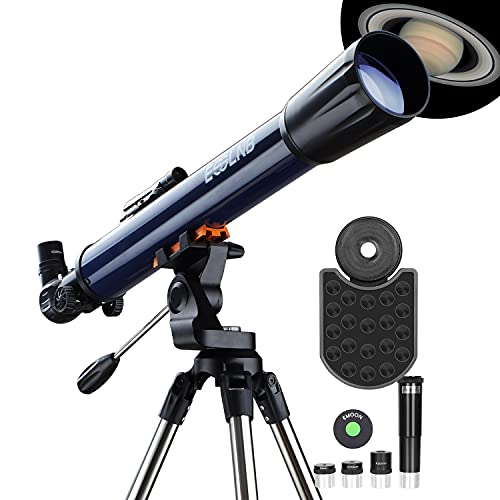 ESSLNB Telescope 70070 Telescopes for Astronomy Adult with Smartphone Adapter Adjustable Stainless Steel Tripod Erect-Image Red Dot Finder Scope Barlow Lens Moon Filter