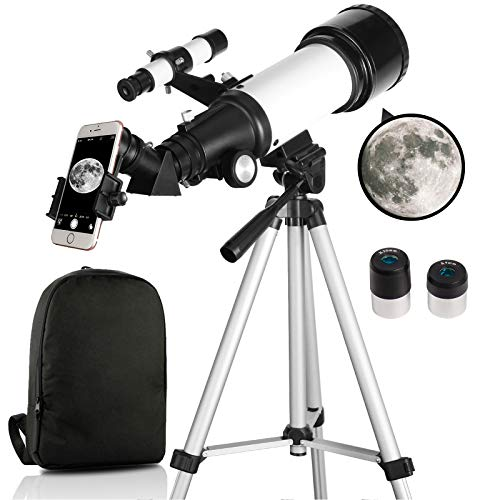 Telescope for Kids Beginners, 70mm Aperture 400mm AZ Mount Astronomical Refracting Telescopes with Adjustable Tripod & Carry Bag, Great Astronomy Gift to Explore Space Moon Star