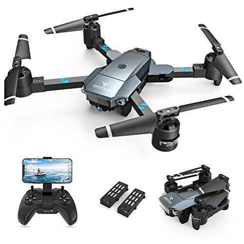 SNAPTAIN A15 Foldable FPV WiFi 120° Wide-Angle 720P HD Camera, Voice Control/Trajectory Flight/Altitude Hold, Drone for Adults and Beginners, 2 Modular Batteries (Included)