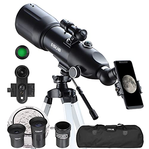 ESSLNB Telescope 80/400 Telescopes for Astronomy Adult with 10X Phone Adapter Adjustable Tripod 3X Barlow Lens Carrying Case and Moon Filter
