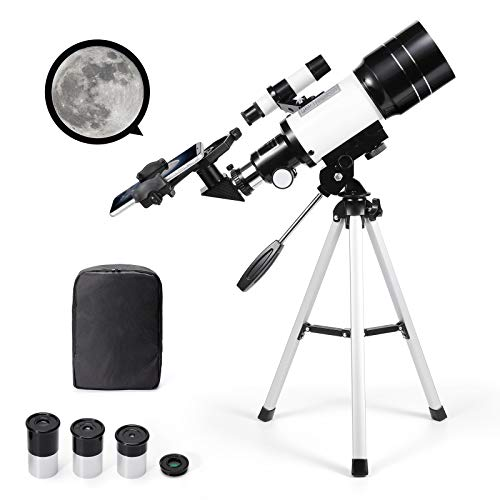 Astronomical Telescope Zoom 150X HD Educational Science Refractor Monocular Space Telescope with Tripod 300/70mm Spotting Scope for Kids Beginners - Uverbon