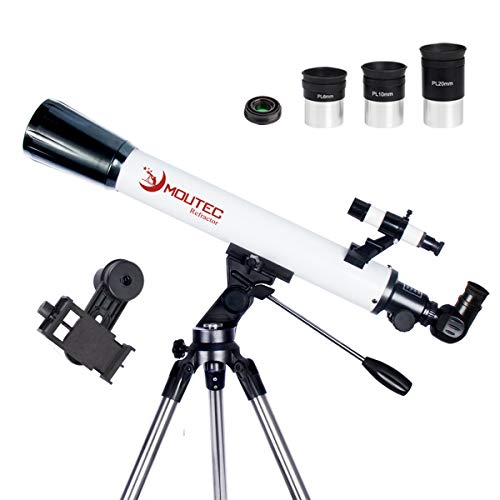 Moutec 70/700 Refractor Telescope for Astronomy - 35-350x Portable Travel Scope - Easy to Use - Ideal for Kids, Beginners and Adults - Come with SmartPhone Adapter & Tripod & 3 Eyepieces & 3x Lens