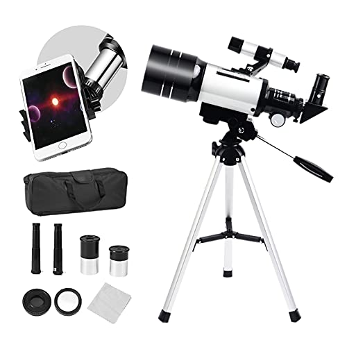 SEAAN Telescope for Beginners 150X-15X, 70mm HD Refractor Telescope for Astronomy Adult, Starter Scope with Tripod, Phone Holder, Finder Scope, Moon Filter, Travel Backpack.