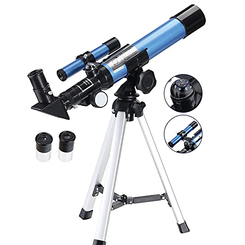 Aomekie Telescope for Kids Beginners Astronomy Portable Astronomical Telescopes Refractor with Finder Scope Compass and Tripod