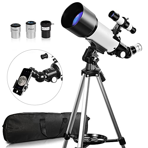 Telescope, Telescopes for Adults, 70mm Aperture 400mm AZ Travel Telescope, Telescope for Astronomy Beginners - with Tripod, Carry Bag, Phone Adapter