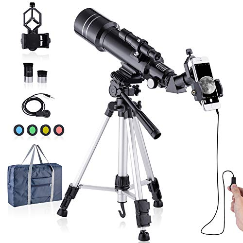 HUTACT Telescope HD 400/70mm Professionals Telescope for Kids Adults Refractor Astronomy Telescope - Watching the Moon, Bird Watching, Viewing the City Scenery, Watching the Wild Animals
