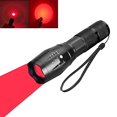 Red Light LED Torch, Red Tactical Hunting Flashlight Signal Torches Zoomable Adjustable Focus 1 Mode for Night Vision Astronomy Fishing Aviation (Red Beam)