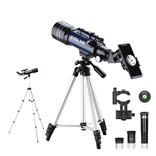 ESSLNB Telescope for Astronomy Beginners and Kids with Adjustable Tripod and Phone Adapter 70mm Fully Coated Lens Barlow Lens