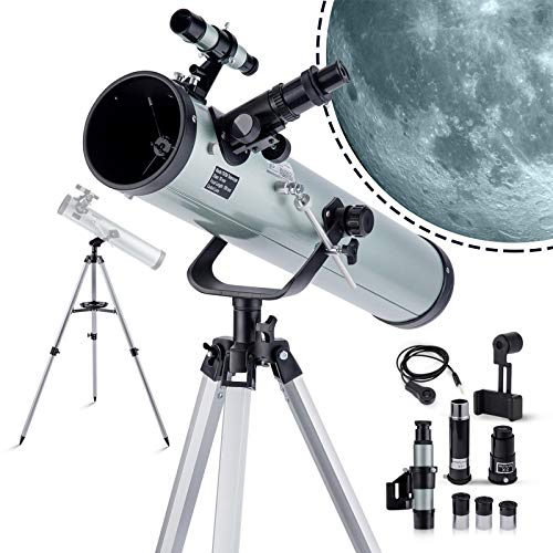 Telescope for Astronomy Reflectors 700mm*76mm for Kids & Adults Beginners Silvery