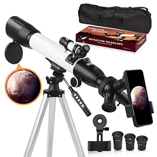 [Upgraded] Telescope, Astronomy Telescope for Adults, 60mm Aperture 500mm AZ Mount Astronomical Refracting Telescope for Kids Beginners with Adjustable Tripod, Phone Adapter, Nylon Bag