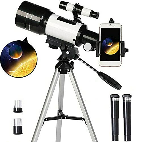 TUOKE Telescope for Astronomy Adult Kids Beginners, 150X Astronomical Refractor Telescope, 300X70mm Telescop with Tripod Smartphone Adapter