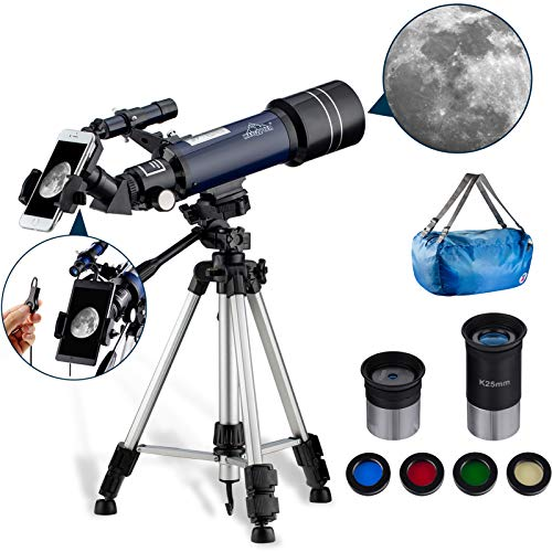 MAXLAPTER Telescope for Astronomy for Beginners with Phone Adapter Adjustable Tripod Moon Filter 400/70mm Refractor