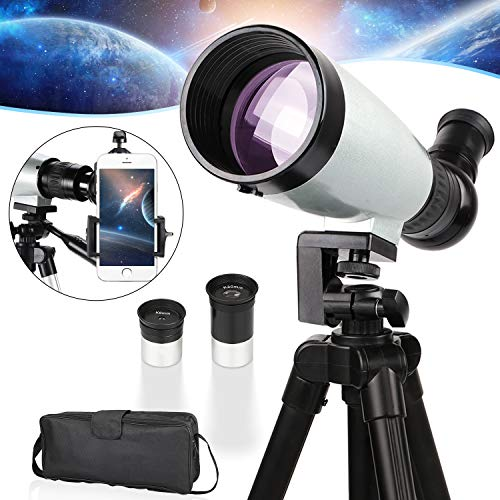 BNISE Telescope for Kids Adults Refractor Astronomy Telescope, 70/300 Telescope with Carrying Bag, Tripod, Phone Adapter