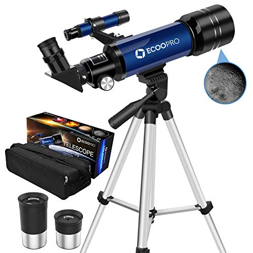 Telescopes for Kids Beginners,70mm Astronomy Refractor Telescope with Adjustable Tripod & Carry Bag Portable Travel Scope for Adult Children (Blue)