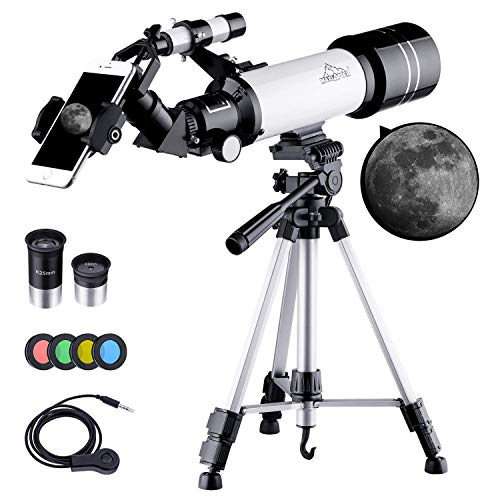BEBANG Telescopes for Astronomy, Portable 70Mm Refractor Telescope for Beginners and Kids with Adjustable Tripod, Photo Shutter, 4 Moon Filter, Phone Adapter Mount and Backpack
