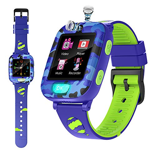 Smart Watch for Boys Girls with Twinkle Flashlight -Calculator Recorder Alarm Clock SOS Two Way Call Games Music Player Kids Smartwatch Birthday Gift for 3-12Y Children (Blue)