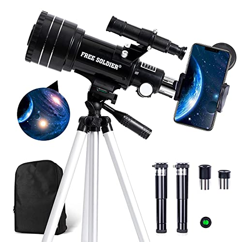 FREE SOLDIER Telescope for Kids&Astronomy Beginners - 70mm Aperture Refractor Telescope for Stargazing with Adjustable Tripod Phone Adapter Perfect Astronomy Gift, Black