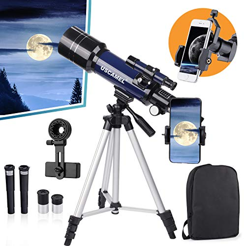 16X-200X Telescope for Astronomy, 70mm HD Refractor Telescope for Kids and Astronomy Beginners, 400mm Length Adults Astronomical Telescope Kit with Tripod, Backpack, Phone Adapter, for Children Gift