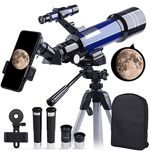 Telescope, 70mm HD Refractor 16X-200X Telescope for Kids and Astronomy Beginners, 400mm Length Adults Astronomical Telescope with Tripod, Backpack, Phone Adapter