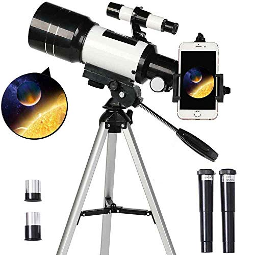 Astronomical Refracting Telescope For Children And Beginners, 70mm Telescope With Viewfinder Adjustable Tripod Smart Phone Adapter For Adults And Children
