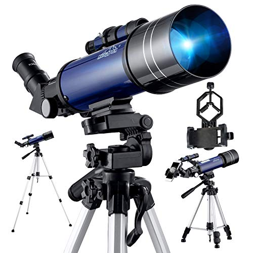 Telescope for Astronomy, Pro 400/70 FMC Glass Optical Refractor Telescope, With Adjustable Tripod Phone Adapter Travel Scope for Kids Adult Beginners