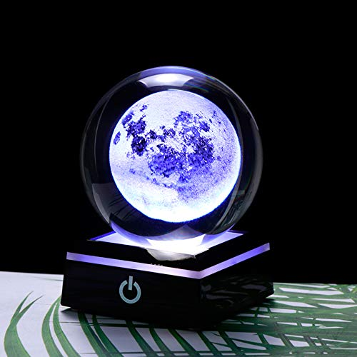 N/F 3D Crystal Moon Ball Ornaments Clear 80 mm with Luminous Base Decoration Ball Home Office Decor, Astronomy gifts for kids