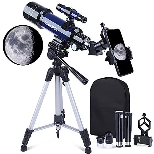 Telescopes for Astronomy Adults, 400/70mm 200X Telescope for Kids Beginners, Portable Travel Telescope with Adjustable Tripod and Phone Adapter and Backpack