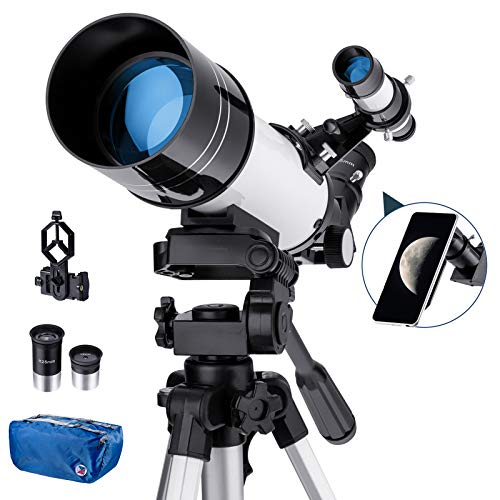 Amazon Brand – Eono Telescope for Adults Beginners, 70mm Aperture 400mm AZ Mount Astronomical Refractor Telescope, Portable Travel Telescopes with Backpack - White