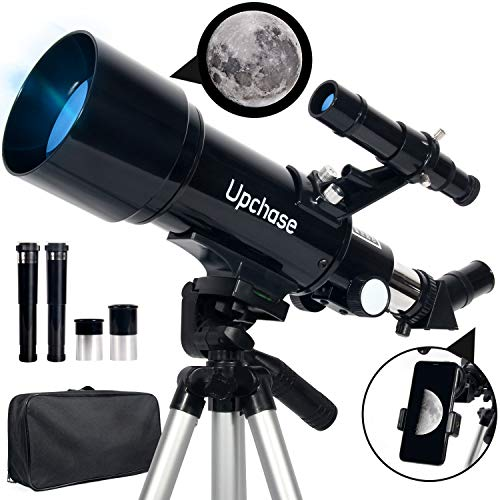 Upchase Astronomical Telescope, 400/70mm Refractor Telescope, Suitable for Adults-Kids-Beginners, Easy to Assemble and Use, Good Partner to View Landscape and Planet, Children Educational and Gift