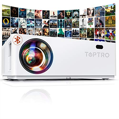 "TOPTRO Bluetooth Projector,7200 Lux Upgraded Native 1080P and 350"" Display Video Projector,Support 4K,Zoom±50°&4D Keystone Correction,Home Theater Projector Compatible with Phone/TV Stick/PC/USB/PS4"
