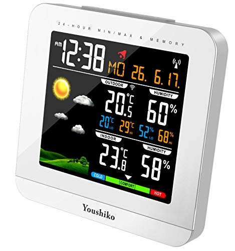 Youshiko Wireless Colour Weather Station (Premium Quality/HD Display) Radio Controlled Clock (UK Version) Indoor Outdoor Temp Humidity Max Min with 24 Hour Auto Reset