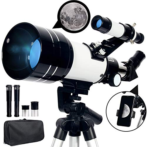 Upchase Telescope, 300/70mm Astronomical Refractor Telescope, Suitable for Adults-Kids-Beginners, Phone Adapter and Carry Bag, View Landscape and Planet, Children Educational and Gift