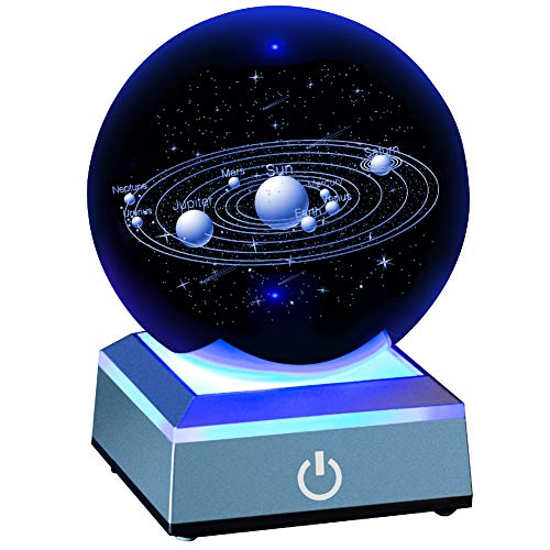 ERWEI 3D Solar System Model Crystal Ball 80mm 3.15' Laser Engraved Hologram with Light Up Base Planet Model Science Astronomy Learning Toys Educational Gift for Kids
