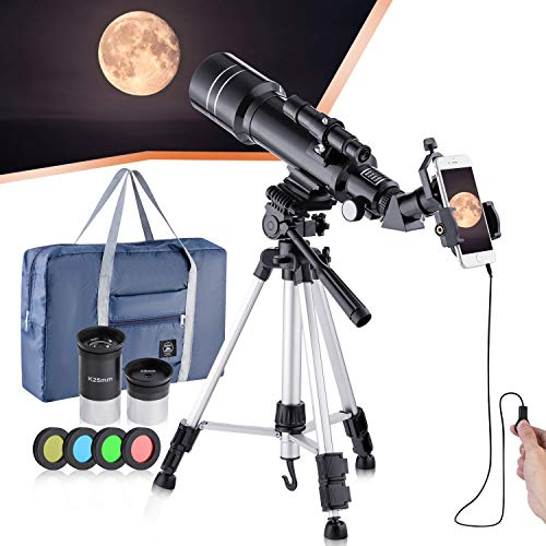 Refractive professional astronomical telescope, HD high magnification, dual-use, suitable for adults or children beginners, portable and equipped with tripod, smartphone adapter