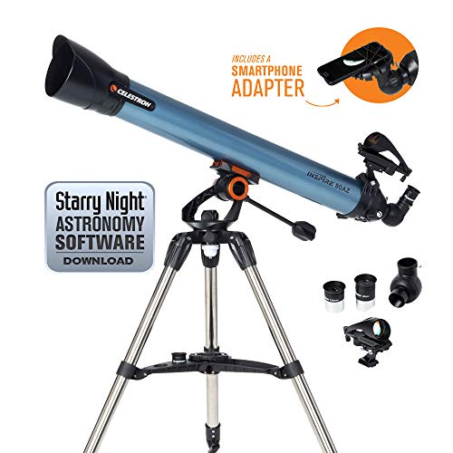 Celestron 22402 Inspire 80AZ Refractor Smartphone Adapter Built-In Refracting Telescope - Blue