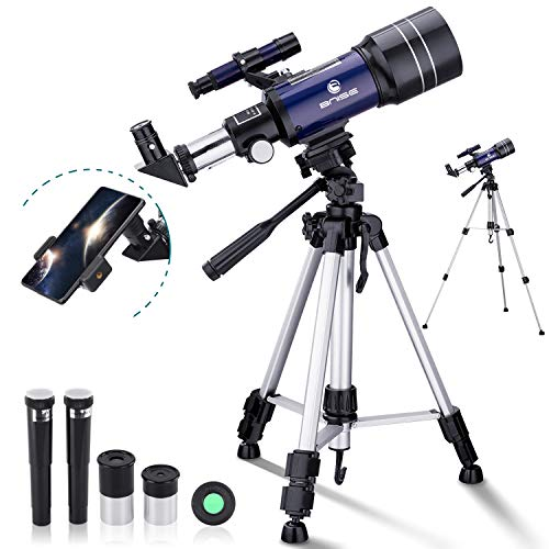 BNISE Telescope for Kids Beginners, 70mm Aperture Astronomy Refractor Monocular Telescopes, with Adjustable Tripod, Phone Adapter, Moon Filter and Carry Bag