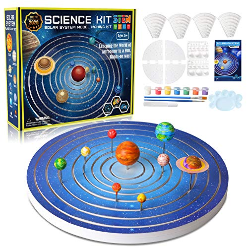 Solar System for Kids Model Building Kit, Glow in The Dark Paint Crafts Stem Projects Science Kits for Kids 4-6 Educational Learning Toys Gifts for Girls & Boys, 8 Planets