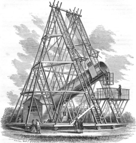 Science. Sir W Herschel's Forty-Foot Reflecting Telescope - 1869 - Old Antique Vintage Print - Art Picture Prints of Science